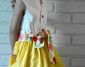 LILLIAN little girl toddler party dress sash lemon zest FULL SKIRT apples embroidery personalized charming retro 1950s by little ticket