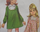 mccalls vintage 1968 childs DRESS three versions a-line sleeve options SIZE 3 mod contrast inset button trim pockets peter pan COLLAR