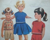 mccalls vintage 1962 childs SKIRT top pants shorts sewing pattern SIZE 4 retro CUTE summer wardrobe circle skirt