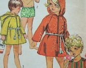 cute vintage 1969 childs BEACH robe swimsuit simplicity sewing pattern SIZE 6 raglan sleeves SUMMER