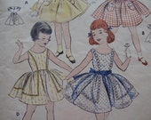 pretty vintage 1950s girls DRESS butterick sewing pattern SIZE 5 sash full skirt PARTY scoop neck