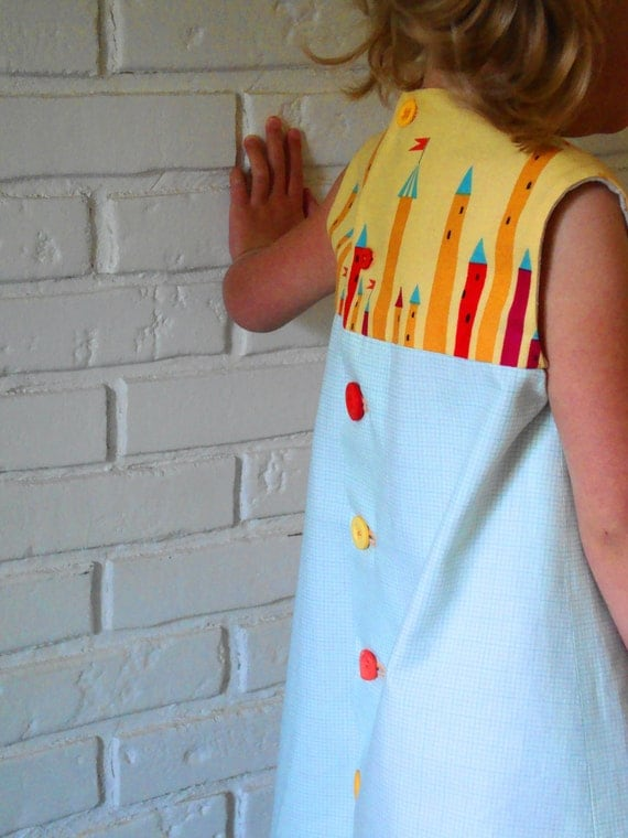 sylvia dress. fairy tale castles aqua graph LAST ONE vintage buttons 1960s retro vintage inspired handmade by little ticket on etsy.
