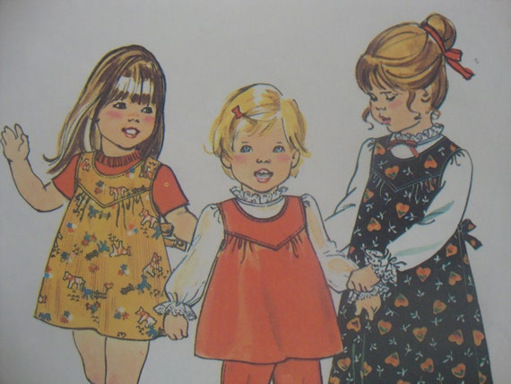 very sweet UNCUT simplicity vintage sewing pattern toddler girls JUMPER top pants blouse SIZE 3 & 4 easy to sew 1975