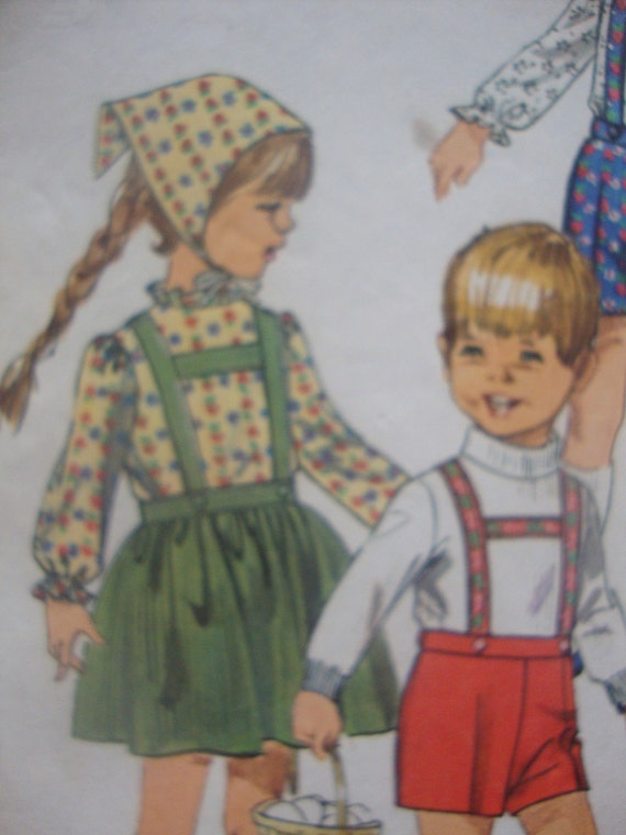 vintage 1968 simplicity sewing pattern CHILDS skirt shorts blouse SCARF super cute alpine style suspenders SIZE 4