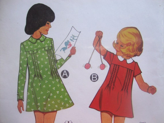 vintage BURDA sewing pattern GIRLS dress pin tucks sleeve options MOD retro 1970s german brand new in package size 10