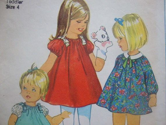 adorable TODDLERS simplicity vintage sewing pattern DRESS detachable collar panties bloomers SIZE 4 raglan sleeves easy to sew 1967
