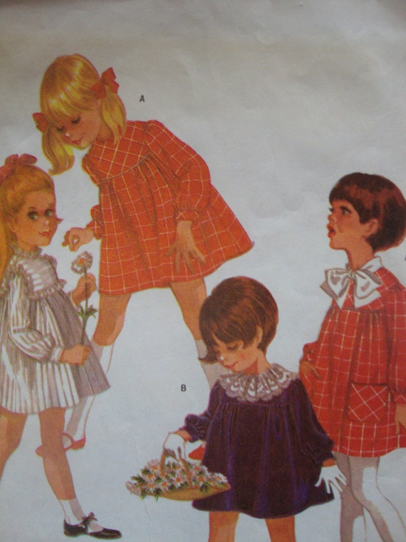 vintage 1968 childs DRESS mccalls sewing pattern long sleeves BOW detachable collar SIZE 3 high waist yoke