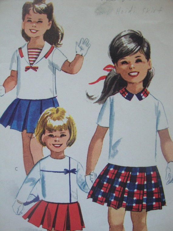 cute vintage 1961 mccalls childs SKIRT top sewing pattern SIZE 1 pleated sailor collar MOD retro nautical