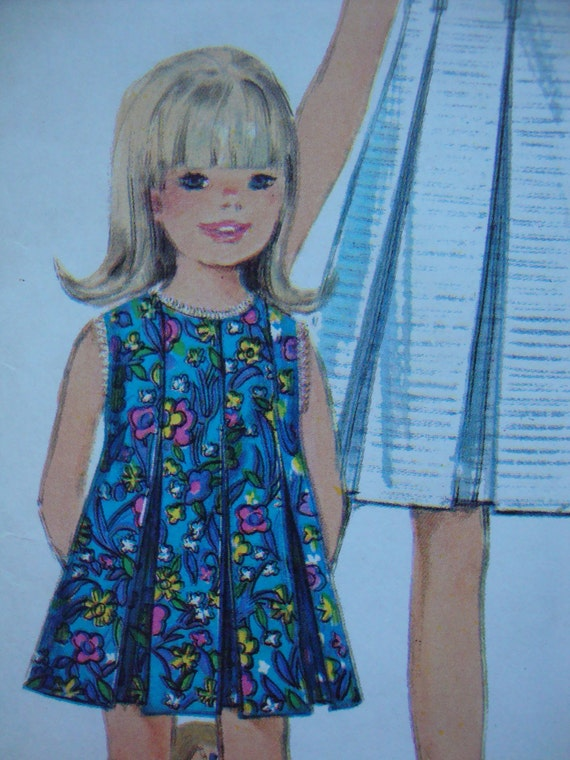simplicity 1967 childs DRESS vintage sewing pattern SIZE 4 pleated contrast collar RETRO mod sleeveless or short sleeves uncut