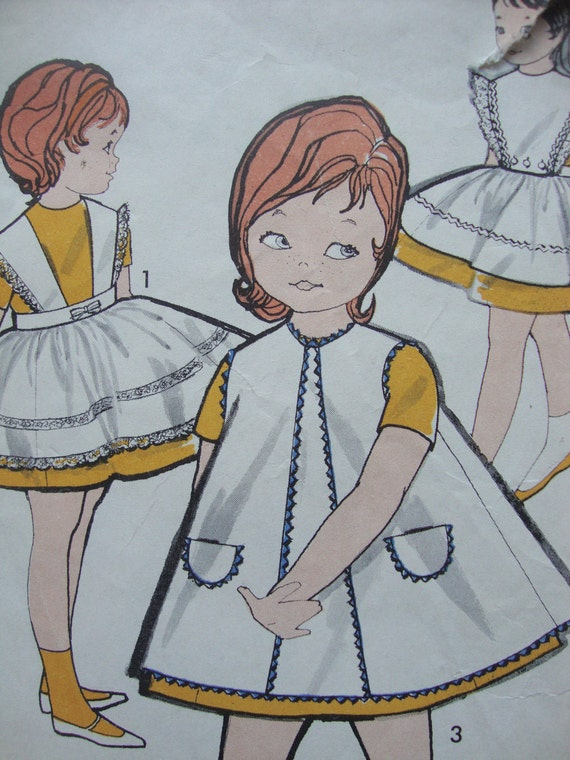 vintage advance 1960s childs PINAFORE pattern three versions SIZE 2 toddler retro old fashioned CUTE