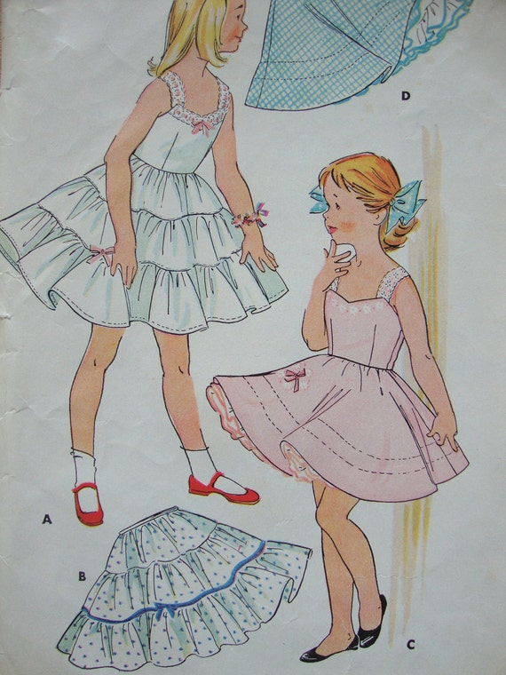 1954 vintage girls CRINOLINE slip petticoat camisole mccalls sewing pattern SIZE 4 retro undergarments
