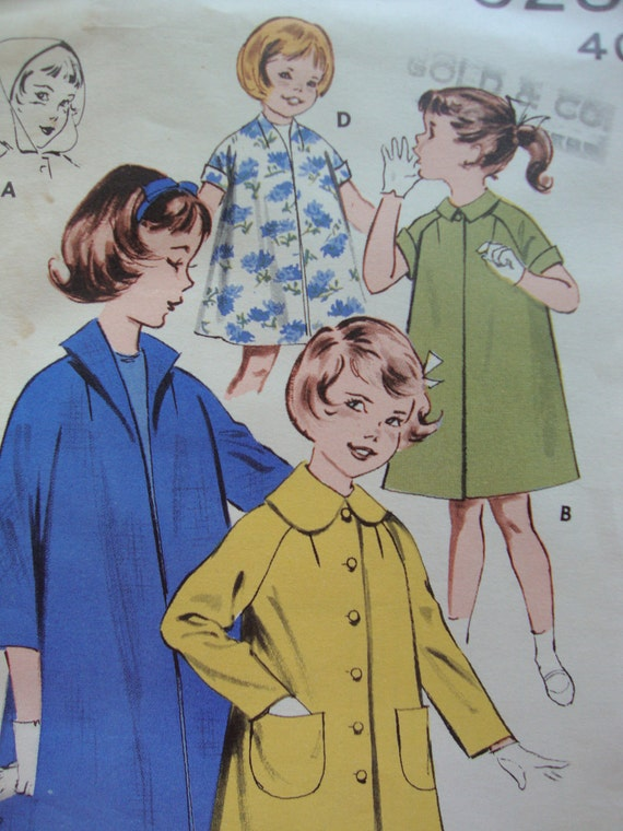 butterick vintage 1960s girls COAT sewing pattern EASY to sew SIZE 4 raglan sleeves puritan collar hood duster raincoat