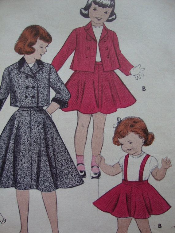 vintage 1950's  \\  butterick sewing pattern 7064  \\  girl's suit: skirt and jacket in two lengths  \\ size 6