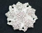 5 Clear Crystal Rhinestone Metal Buttons-24mm