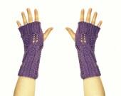 Violet Sparkles Fingerless Mittens