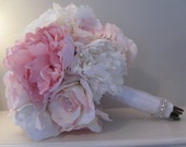 Wedding Real Touch Silk Bridal Bouquet & Boutonnieres - Pink and White Roses and Peonies