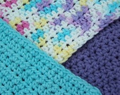 Cotton Crocheted Washcloths---fun colors---turquoise, purple, and ombre (mixed)