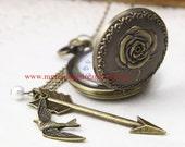 Rose Pocket Watch locket Necklace, vintage style