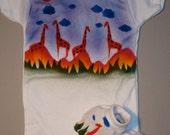 Baby Boy One Piece, African Giraffes, Hand Painted, Newborn , Baby BoyOnesie, Baby Girl Take Home, Newborn Take Home Outfit, Baby Layette