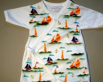 Newborn Baby Kimono, Hand Painted Romper, Organic Body suit,  Sailboats