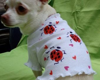 Hand Painted Dog Tee, Trendy, Cool Doggie Tank, Ladybugs & Hearts