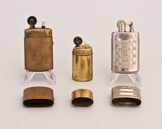Set Of Three Authentic European Trench Art Pocket Lighters