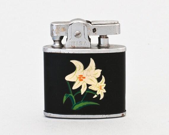 Working Japanese Chelsea Pocket Lighter With Enamelled Lily Design