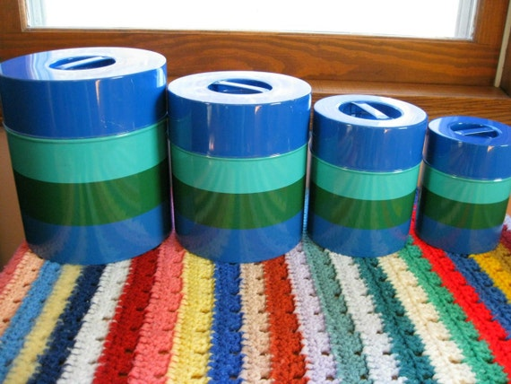Holt Howard Metal Canisters Shades of Blue and Green Stripes- Storage