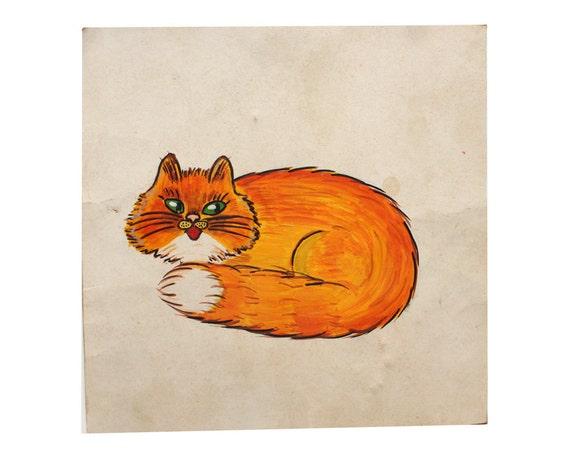 Ginger Cat painting original vintage art USSR Soviet