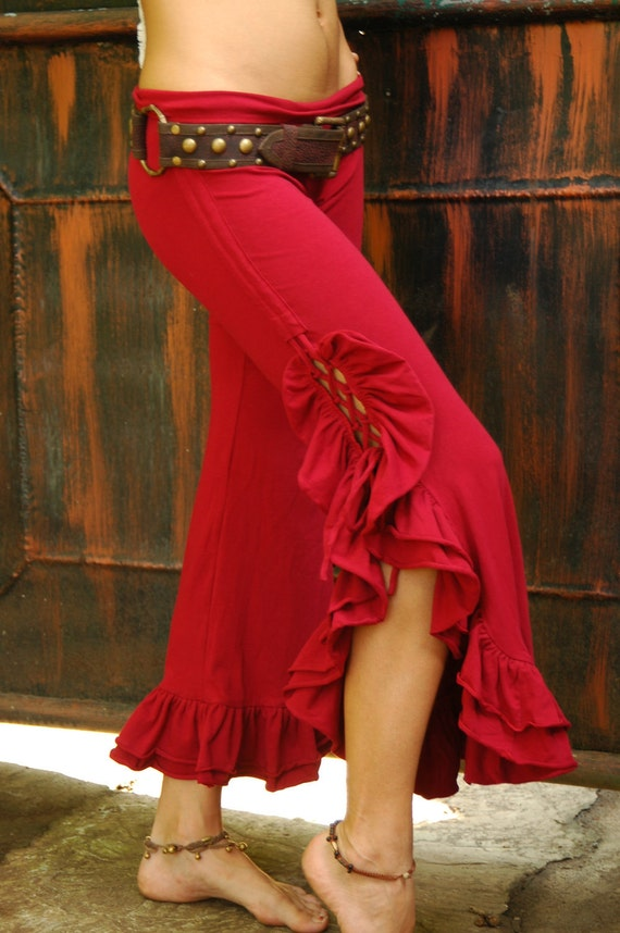 Tribal Bellydance Ruffle Pants-Red