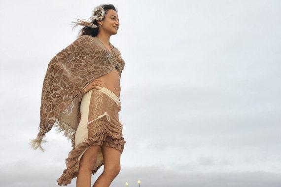 Shakti Skirt: Double Ruffle Lace & Cotton Lycra w/ Drawstrings