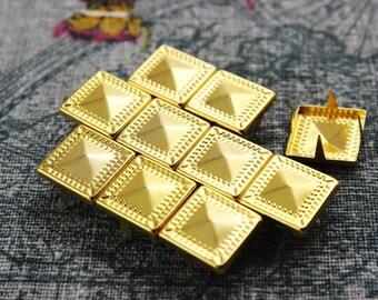 100Pcs 12.5mm Gold Dotted Border Pyramid Studs Metal Studs (JDP12)
