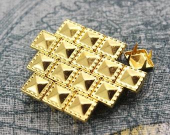 50Pcs 8.5mm Gold Dotted Border Pyramid Studs Metal Studs (JDP08)