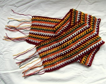 Striped summer scarf with fringe, viscose blend, handcrocheted