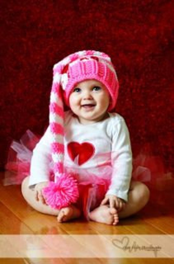 Stripped Valentines day pixie style hat pattern photo prop( Newborn to adult sizes Crochet)