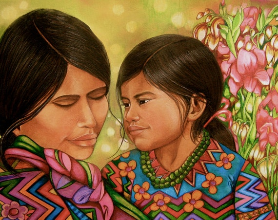 Mother and daughter from Guatemala Giclee print