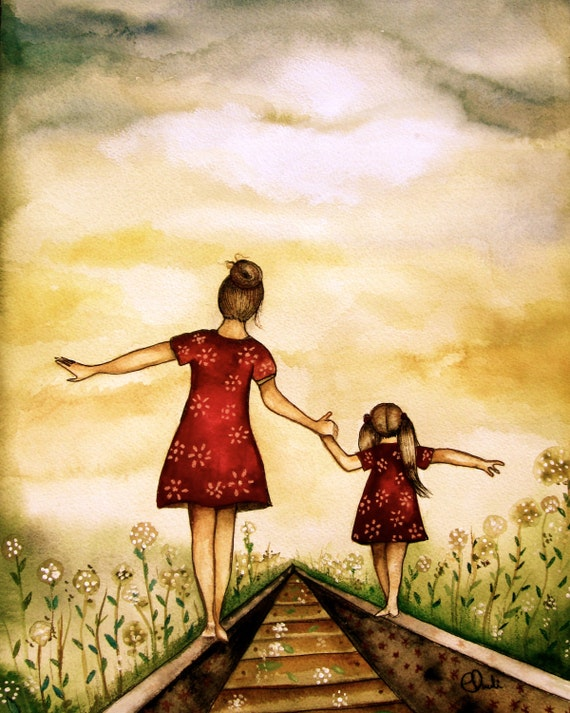 mother and daughter  art print