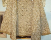 Hand knit chanel style jacket with sparkly gold and cream mohair yarn