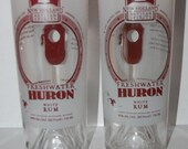 Huron White Rum Glasses-Recycled Bottle-Set of 2-ManCave-Bar Lounge-Beach