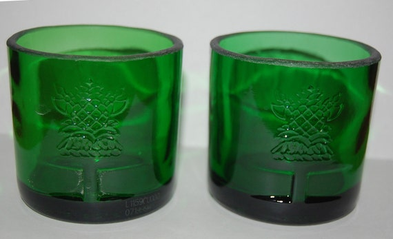 Tanqueray Gin On the Rocks Glasses-Recycled Bottle-Set of 2-ManCave-Bar Lounge-Beach