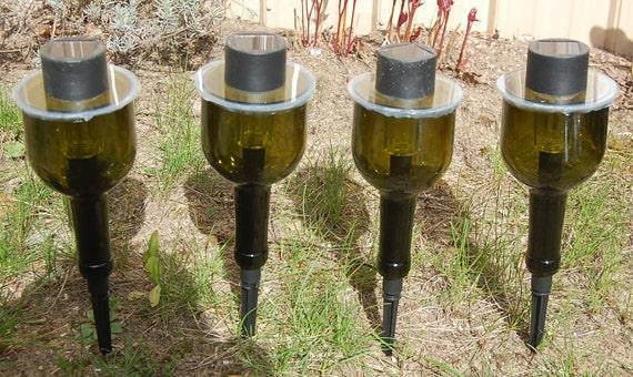 Wine bottle solar lights set of 4 garden for Wine bottle patio lights