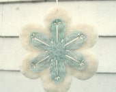 Christmas Snowflake Ornament/Decoration in White and Ice Blue with Sparkle Yarn