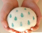White Felted Soap with Aqua Blue Rain Drops Design, Unscented