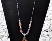 Lampwork Pendent with Dyed Serpentine Jasper Amethyst Necklace FREE SHIPPING