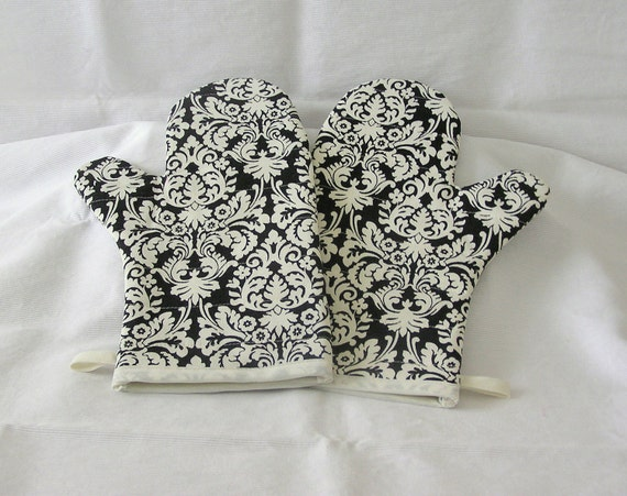 Oven Mitts Quilted Handmade One Pair Black and White