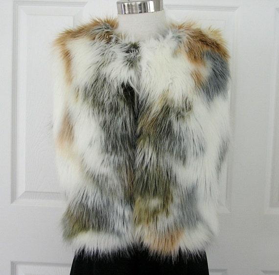 Faux Fur Vest Calico Design White Tan Black