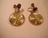 Vintage Coro Screw On Dangling Earrings in gold tones with real Four Leaf Clovers - Good Luck Charms ready to wear