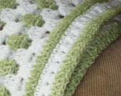 Sea Mist Green and White Granny Baby Blanket