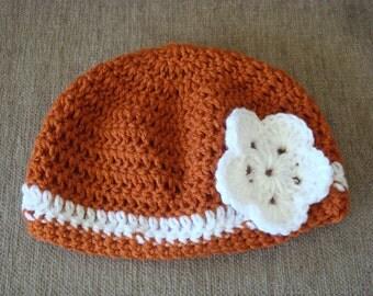 Adult Burnt Orange and White Crochet Hat / Beanie / Cloche, UT, Longhorn, Univ. of Texas