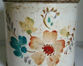 Darling VINTAGE Floral Painted Tin with Red Knob Top